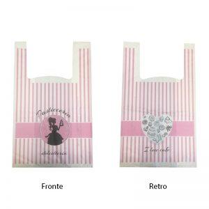 Shopper compostabili con stampa pasticceria dolcetteria a 2 colori rosa e nero su 2 lati 30+8+8X50 15 gr - Shopper compostabili con stampa pasticceria dolcetteria a 2 colori rosa e nero su 2 lati Pasticceria - Coleschi
