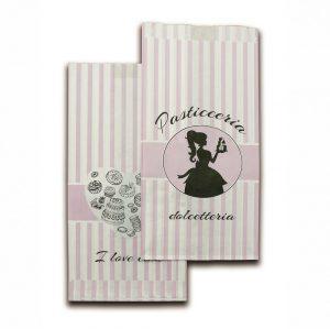 Sacchetti carta bianca 35gr con stampa pasticceria dolcetteria 1