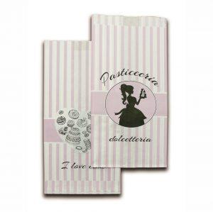 Sacchetti carta bianca 35gr con stampa pasticceria dolcetteria 2