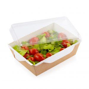 Scatola eco opsalad con coperchio di plastica trasparente 800 ml - Scatola eco opsalad con coperchio di plastica trasparente Pizzeria e ristorazione - Coleschi